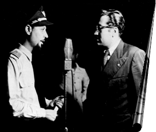 Capt KR Guzdar being interviewed by late Hamid Sayani of All India Radio prior to departure from Santa Cruz Airport, on June 8, 1948