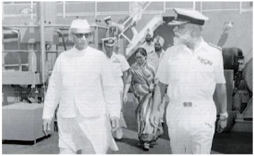 From left: Front, Prime Minister Desai, Vice Admiral Awati\; Second row:  Mrs Kantibhai Desai\; Third row, Lt Cheema, Executive officer of ship. On INS Shakti, February 1979