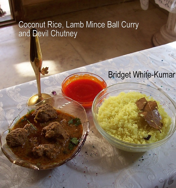 Bridget Kumar's Coconut Rice and Mince Ball Curry (Kofta Curry) © Bridget Kumar 2012
