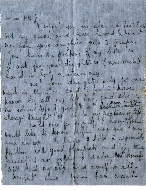 My father's letter to my maternal grandmother - 1