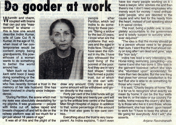 2001: Indira Kumar at 72 – Hindustan Times article.