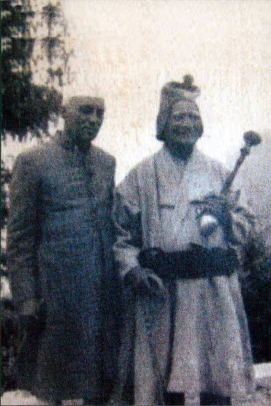Nehru, left, with Hans Raj Sondhi, Indira's mother's sister's husband, at the Sondhi home 'Ashiana' in Dalhousie