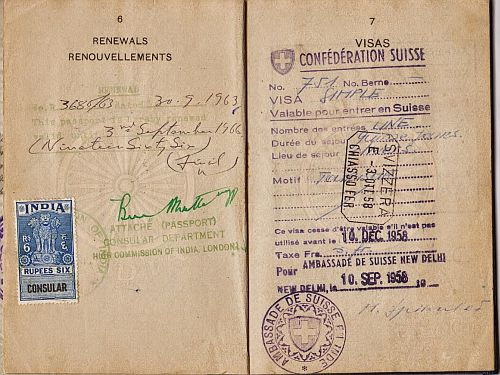 Passport Uma Sethi, showing departure date 1958 and Swiss visa