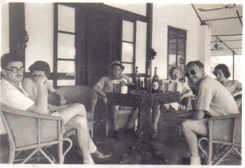 The photo shows a collection of erstwhile planters having a cold weather Sunday lunchtime session on the veranda of the old Sonari Club.
