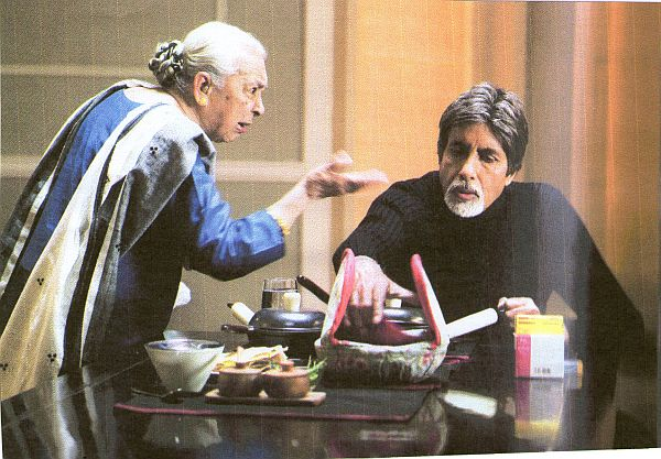 Zohra Segal, left, with Amitabh Bachchan in Cheeni Kum (2007)
