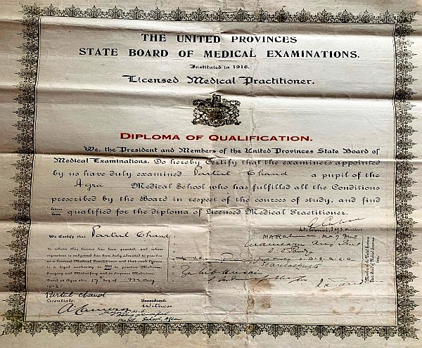 Licensed Medical Practitioner certificate for Partool Chand Banga, my grandfather. 1922.