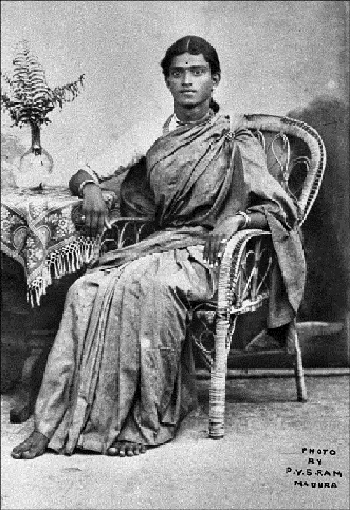 Mahalingam Iyer dressed as a woman.