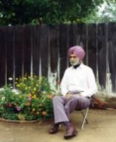 Captain Gurdial Singh in his backyard garden. Clovis, California, 1989.