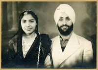 Joginder Kaur with Captain Gurdial Singh shortly after their marriage. Patiala, Punjab, 1946.