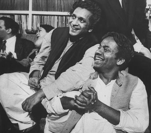 Chatur Lal, right, with Ravi Shankar, sitar player, left.