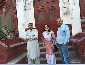 L to R:  Lawyer Nabeel Shah, Sarab Kaur and Sikh historian Iqbal Kaiser in old Lahore, 2016
