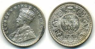 One rupee coin with George V