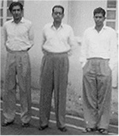 Three brothers\; (from left to right) Sumitra Benegal, Benegal Dinker Rao, Ramesh Sakharam Benegal (early 1950s)