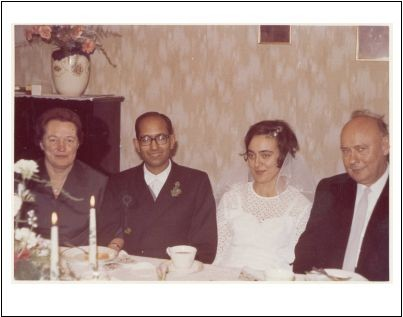 Kailash and Annemarie with her parents at their wedding. February 1969.