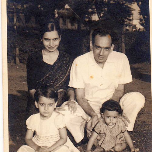 My sister, Santosh, with her husband Sikandar. And daughters, Anuradha (left), Ritu (right). 1958