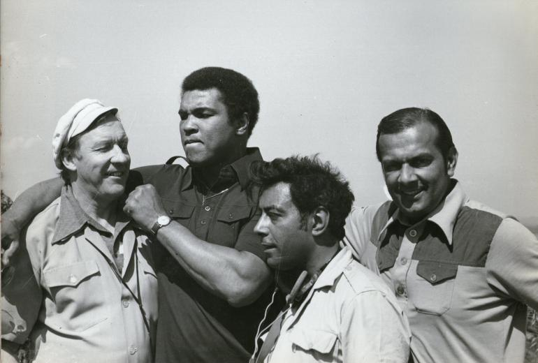 From left to right: Rory McLeod chief cameraman, Muhammad Ali, Eric Chohan, head sound recordist, Reginald Massey, Producer - Director of Bangladesh I Love You. 1978