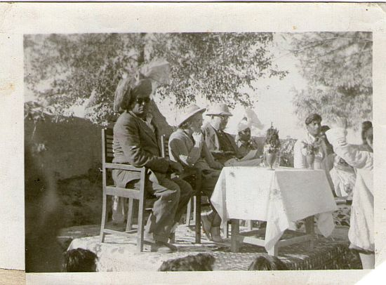 My uncle, Chaudhry Hidayat, wearing his turban, welcomes the British District Commissioner and his wife to my uncle's Chak (village) in tehsil Chichawatni in Montgomery district. Mid 1930s.
