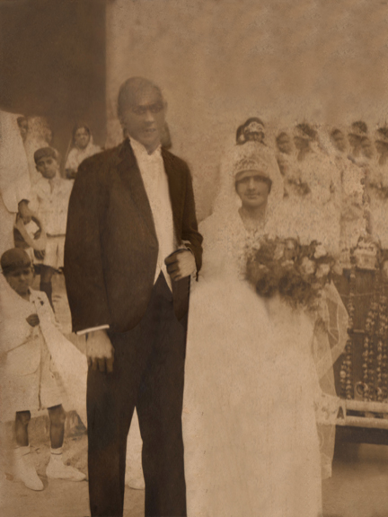 John and Mary Massie on their wedding day in Lahore, 1931, at the Empress Road Catholic Church.