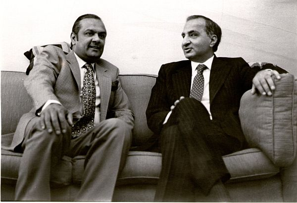 In London's Holland Park Reginald Massey, left, chats with fellow Lahore born writer Ved Mehta. 1990s.